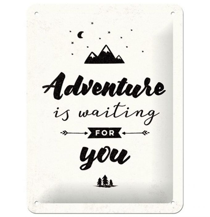 Nostalgic art – metalen wandbord – adventure is waiting for you