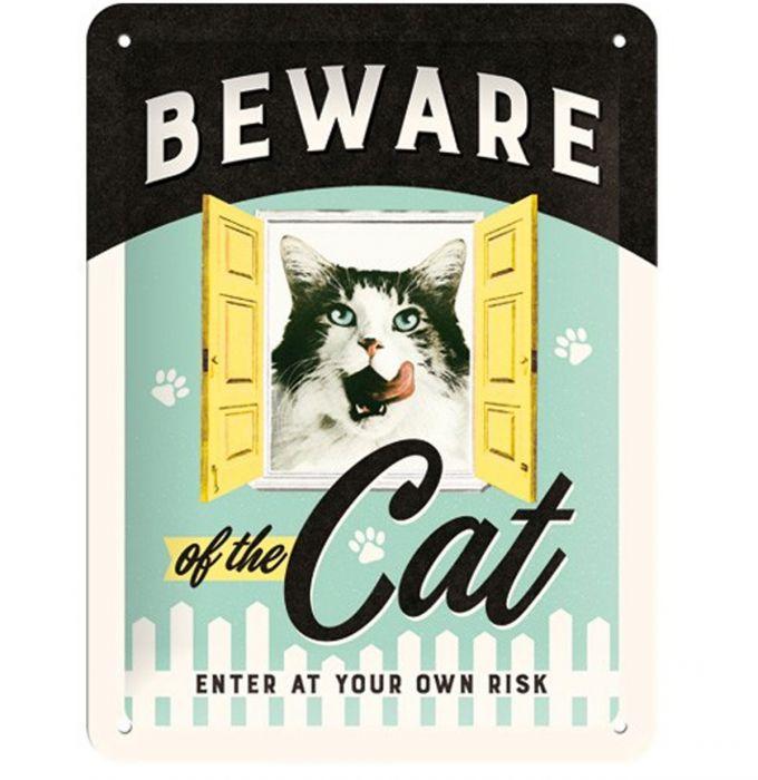 Nostalgic art – metalen wandbord – beware of the cat