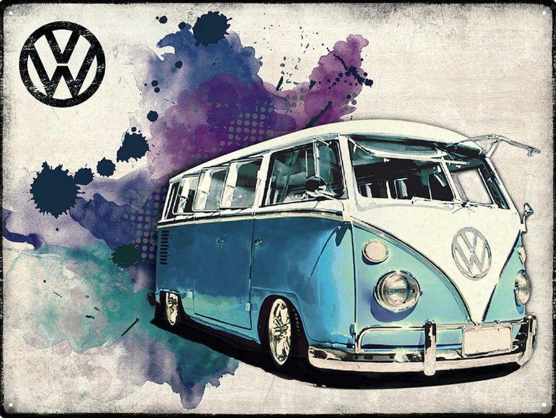Metalen wandbord – VW T1 camper blauw