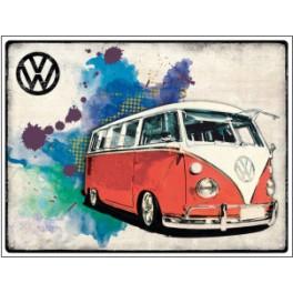 Metalen wandbord – VW T1 camper rood