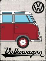 Metalen wandbord – VW rood – zijaanzicht voorkant