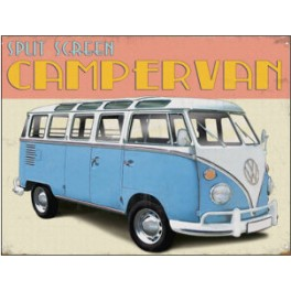Metalen wandbord – VW Campervan blauw