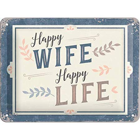Nostalgic Art – metalen wandbord – happy wife happy life