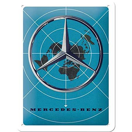 Nostalgic Art – metalen wandbord – mercedes-benz blue map
