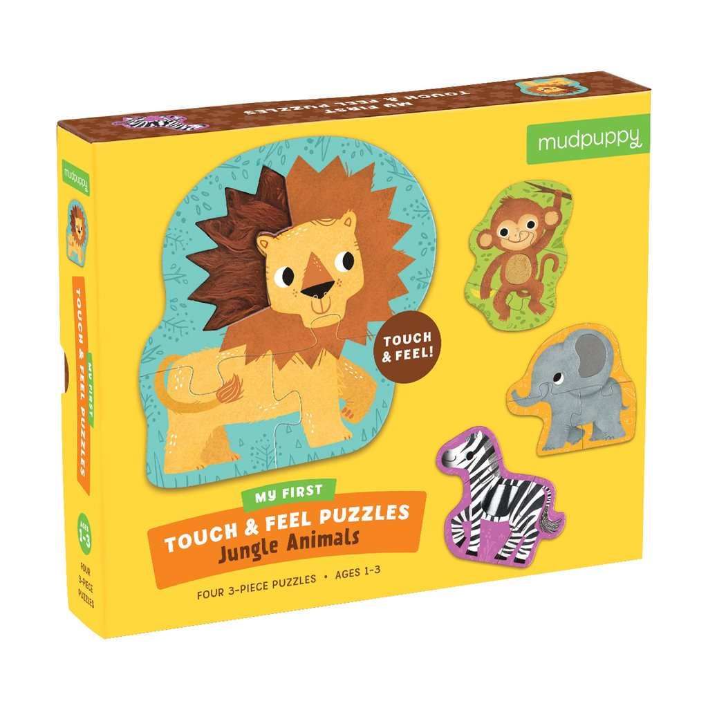 Mudpuppy touch & feel puzzel jungle animals